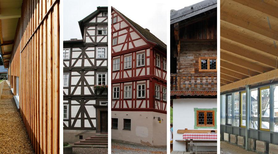 Fünf Ausschnitte von historischen und modernen Gebäuden