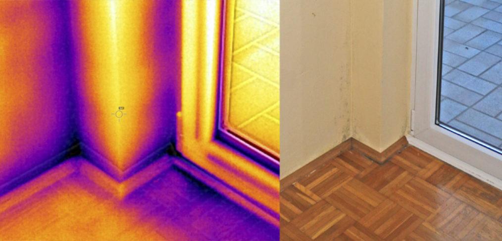 Infrarot- bzw. Thermografie-Aufnahme an einer Außentür