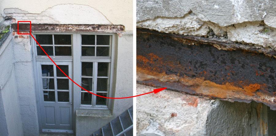 Stahlträger über Fenster-Tür-Element mit erheblicher Korrosion