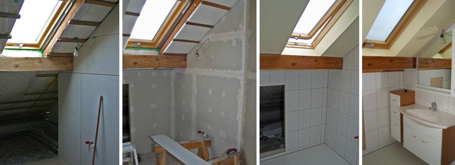 Die vier Einelbilder zeigen den schrittweisen Umbau vom Speicher zum Badezimmer