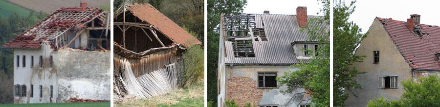 Vier Einzelbilder mit Gebäuden im unterschiedlichen Schädigungszustand